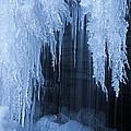 Winter Blues - Frozen Waterfall Detail by John Stephens