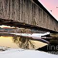 Winter Bridge Geese At Sunset by Lori Sulger