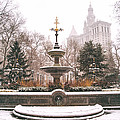 Winter - City Hall Fountain - New York City by Vivienne Gucwa