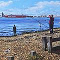 Winter Fishing At Weston Shore Southampton by Martin Davey