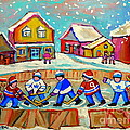 Winter Fun At Hockey Rink Magical Montreal Memories Rink Hockey Our National Pastime Falling Snow   by Carole Spandau