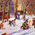Winter High Bridge Park by George Benjamin Luks