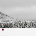 Winter Hikers On Lonesome Lake by Ken Stampfer