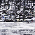 Winter Ice Lake Scene Hopatcong Covered Port by Maureen E Ritter