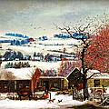 Winter In The Country Folk Art by Lianne Schneider