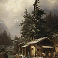 Winter Landscape With Figures Resting Near A Water Mill by Heinrich Hofer