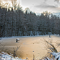 Winter Landscape With Frozen Lake And Warm Evening Twilight by Matthias Hauser