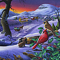 Winter Mountain Landscape - Cardinals On Holly Bush - Small Town - Sleigh Ride - Square Format by Walt Curlee