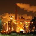 Winter Night At Sunila Pulp Mill by Ilkka Porkka