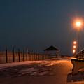 Winter Night Boardwalk Bench Seaside Nj  by Terry DeLuco