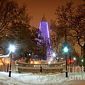 Winter Night-city Lights-and Christmas Lights At The Washington Monument by SCB Captures