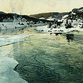 Winter On The Mesna River Near Lillehammer by Fritz Thaulow