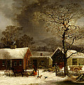Winter Scene In New Haven Connecticut 1858 By Durrie by Movie Poster Prints
