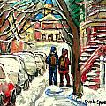 Winter Scene Painting Rows Of Snow Covered Cars First School Day After Christmas Break Montreal Art by Carole Spandau