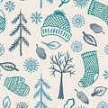 Winter Seamless Pattern With Knitted by Marmarto