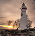 Winter Sunrise At Marblehead Lighthouse - Portrait by At Lands End Photography