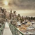 Winter Sunrise Over A Swinging Bridge by Mark David Zahn Photography