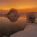 Winter Sunset And Fog Over Lake Myvatn by Panoramic Images