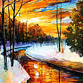 Winter Sunset - Palette Knife Oil Painting On Canvas By Leonid Afremov by Leonid Afremov