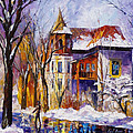 Winter Town - Palette Knife Oil Painting On Canvas By Leonid Afremov by Leonid Afremov