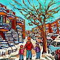 Winter Walk Montreal Paintings Snowy Day In Verdun Montreal Art Carole Spandau by Carole Spandau
