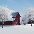 Winter Wonderland Red Barn Digital Painting by Robyn Saunders