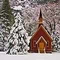 Winter Yosemite Chapel by Heidi Smith