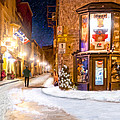 Wintery Streets Of Old Quebec At Night by Mark Tisdale