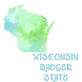 Wisconsin - Badger State - Map - State Phrase - Geology by Andee Design