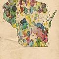 Wisconsin Map Vintage Watercolor by Florian Rodarte