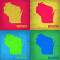Wisconsin Pop Art Map 1 by Naxart Studio