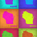Wisconsin Pop Art Map 2 by Naxart Studio