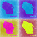 Wisconsin Pop Art Map 3 by Naxart Studio