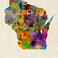 Wisconsin Watercolor Map by Michael Tompsett