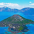 Wizard Island From Watchman Overlook In Crater Lake National Park-oregon  by Ruth Hager
