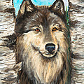 Wolf In The Aspens Originalpainting Forsale by Bob and Nadine Johnston
