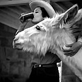 Woman And Donkey Black And White by Cathy Anderson
