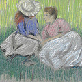 Woman And Girl On The Grass by Federico Zandomeneghi