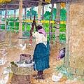 Woman Beating Cassava Jamaica by William Berryman