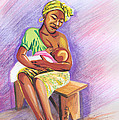 Woman Breastfeeding Bay In Rwanda by Emmanuel Baliyanga