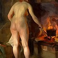 Woman Cooking Over An Open Fire by Anders Zorn