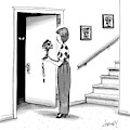Woman Holding Lamp Stands At Dark Bedroom Doorway by Tom Cheney
