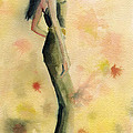 Woman in a Green Jumpsuit Fashion Illustration Art Print by Beverly Brown Prints