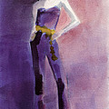 Woman in a Purple Jumpsuit Fashion Illustration Art Print by Beverly Brown Prints