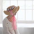 Woman In A Regency Period Empire Line Dress With Straw Bonnet Si by Lee Avison