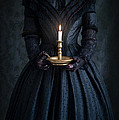 Woman In A Victorian Mourning Dress Holding A Candle by Lee Avison
