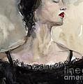 Woman In Black Watercolor Portrait by Svetlana Novikova