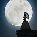 Woman In Historical Clothing On A Cliff With Full Moon by Lee Avison