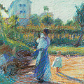 Woman In The Garden by Umberto Boccioni