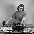 Woman Listening To Records by Marguerite Baker Johnson